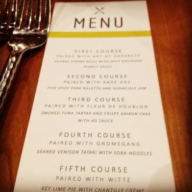 ommegang dinner menu
